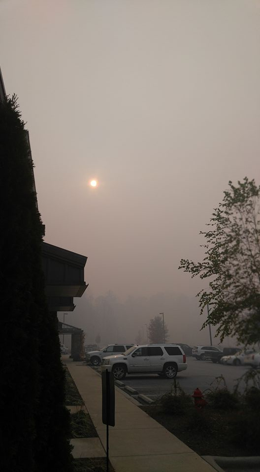 Smoke from wildfires diminishes the sun in Franklin, NC. Photo courtesy of Brandon Ledford.