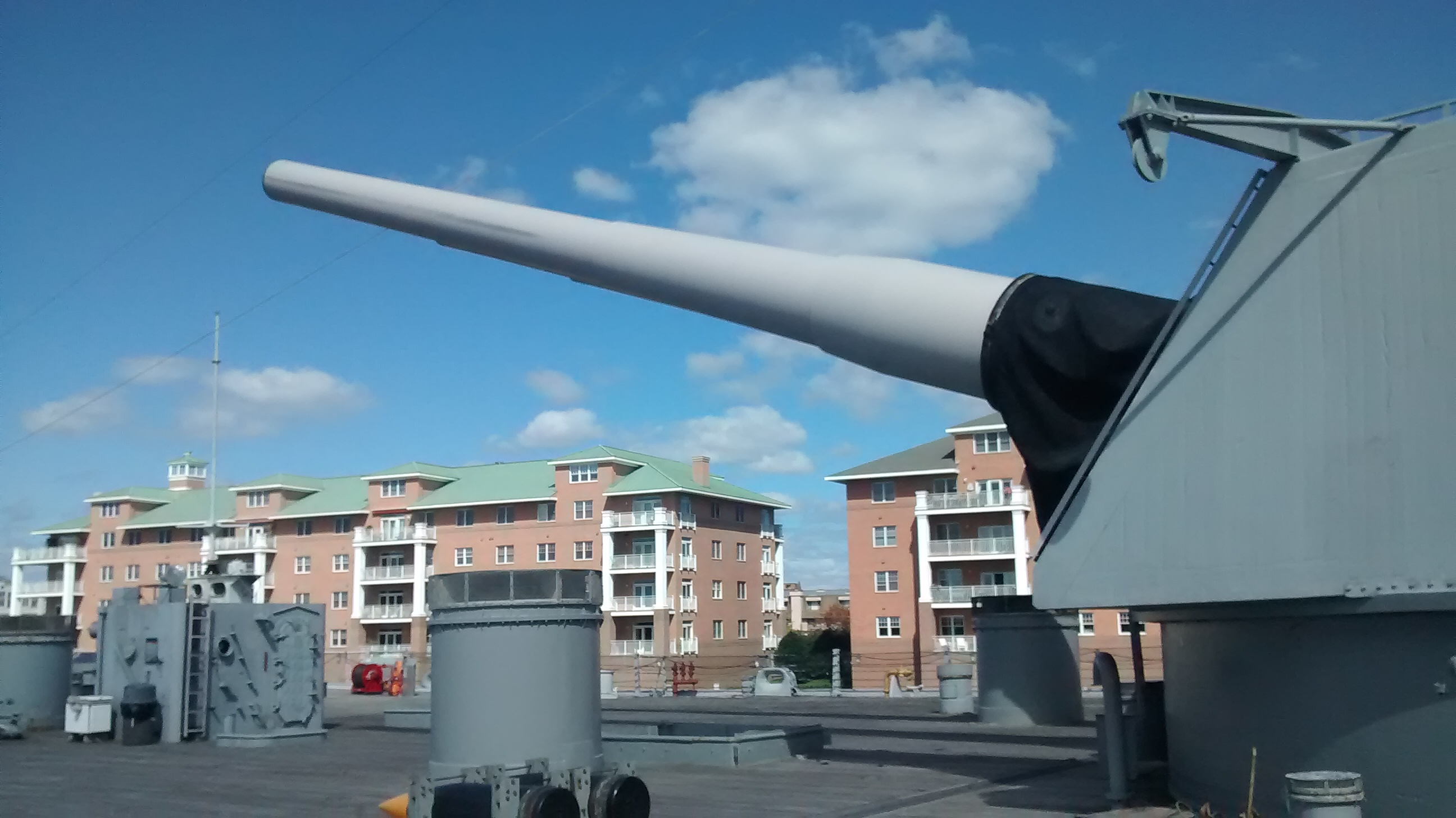 A gun on the USS Wisconsin.