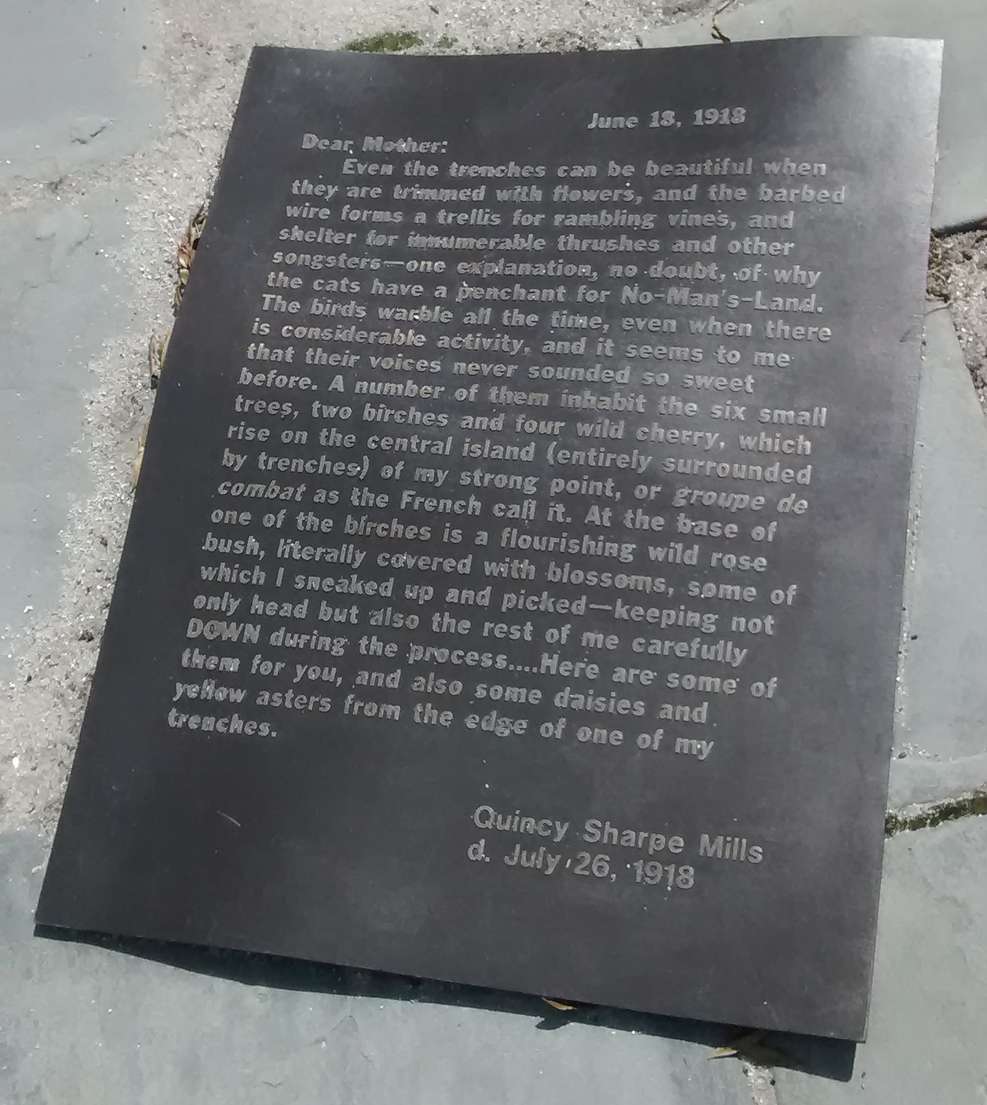 Letter in bronze, Armed Forces Memorial, Norfolk, Virginia.